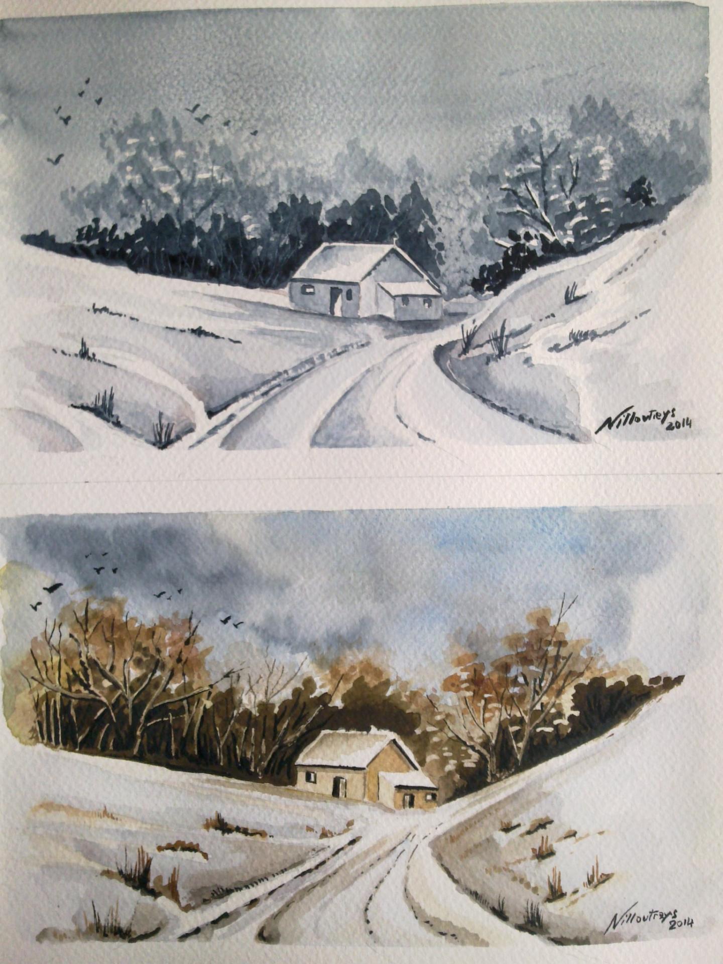 aquarelle - hiver